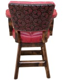 western style tufted red leather swivel barstool