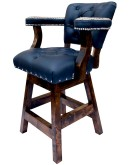 navy blue leather swivel barstool with arms