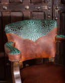 brown leather swivel barstool with turquoise croc leather accents