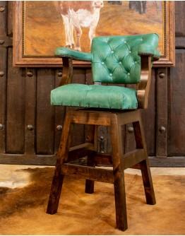 Chisum Turquoise Tufted Barstool