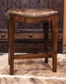 saddle stool with embossed croc leather