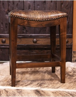 Croc Brown Saddle Stool