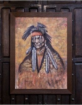 Geronimo with Crow Framed Print