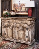 white washed carved wood buffet