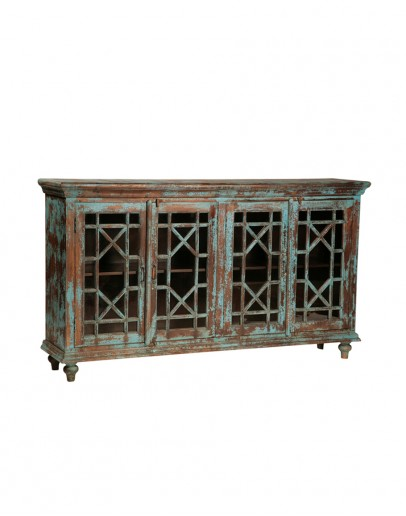 distressed turquoise buffet with glass doors
