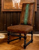 barley twist dining chair with turquoise and brown croc leather