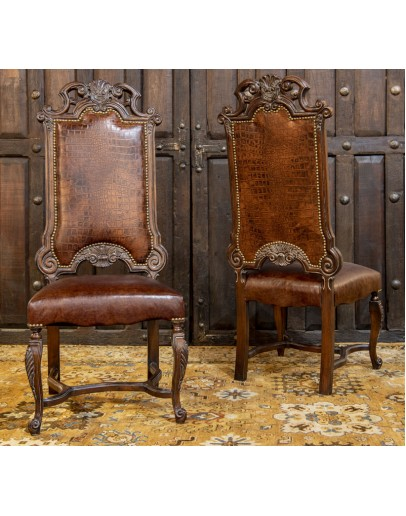 spanish style carved wood dining chair with leather