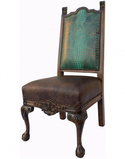spanish style dining chair with carved wood and leather