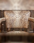 game chair with embossed white croc leather