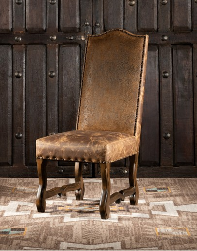 dining chair with embossed leather