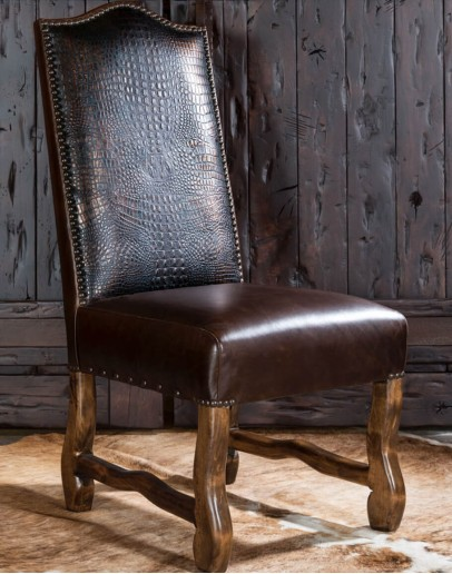 rustic ranch dining room chair with leather
