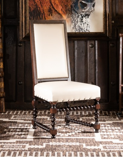 western style leather dining room chair