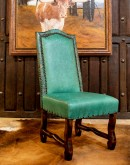 turquoise leather dining chair