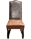 spanish style dining room chair,rustic ranch embossed leather dining chair