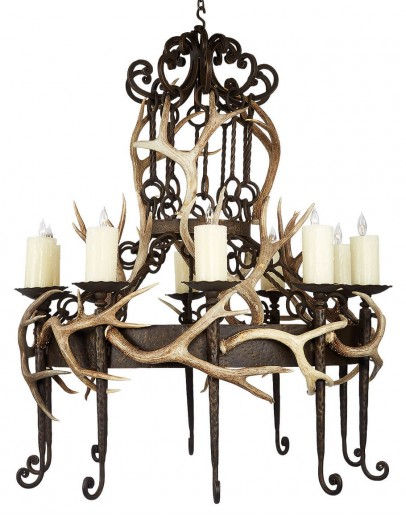 iron chandelier with deer antlers