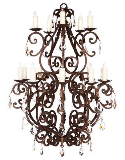 hand forged iron chandelier with real crystals
