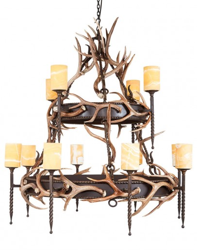 Large Iron Chandelier with deer antlers and iron