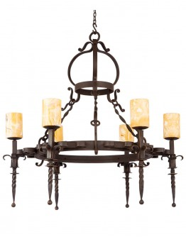 6 Light Spartan Chandelier w/ Onyx Globes