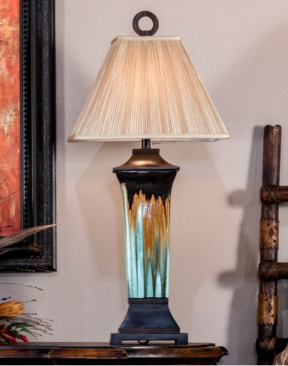 turquoise ceramic table lamp for western home