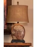 distressed rusty brown ceramic table lamp
