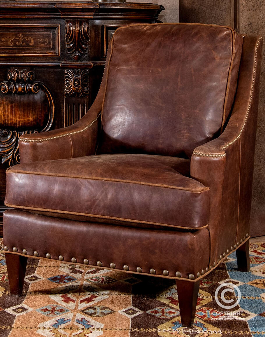 Amos Lounge Chair Distressed Leather, Leather Living Room Chair