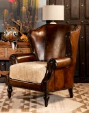 oversized leather wingback chair with a shearling hide seat cushion,saddle leather chair
