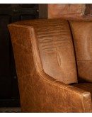 distressed leather ranch style accent chair
