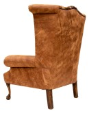 distressed tan leather wingback chair with genuine axis deer skin