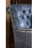 slate blue leather living room chair