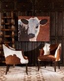 western living room chair with cowhide all over