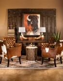 tufted leather chair with cowhide on the outside,tufted accent chair with saddle leather