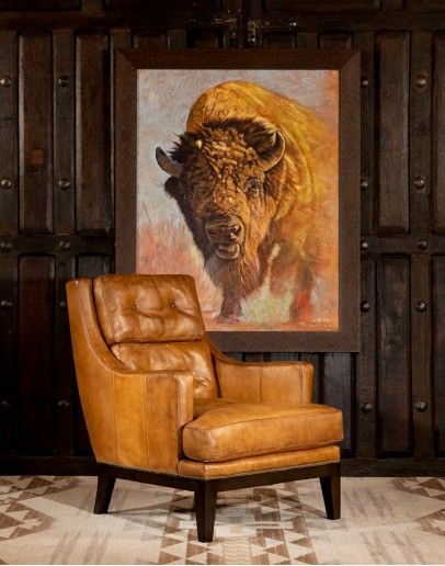 upscale ranch style tan leather chair,tan accent chair with saddle leather