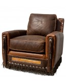 brown distressed leather accent chair
