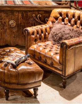 Tufted Lounge Chair w/ Ottoman