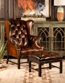 high quality leather wingback chair,wingback chair with brown saddle leather