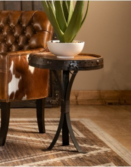 Tequila Barrel Top Accent Table