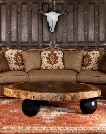 large round live edge wood coffee table