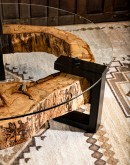 round live edge coffee table with glass top
