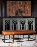 modern rustic leather rectangular ottoman