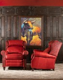 high end western style red leather recliner