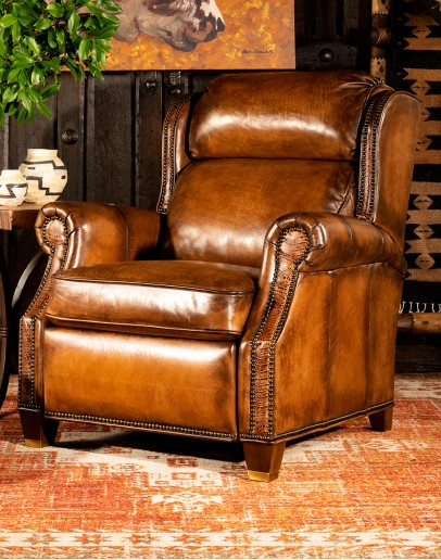 upscale ranch style brown leather recliner,brown recliner with saddle leather,