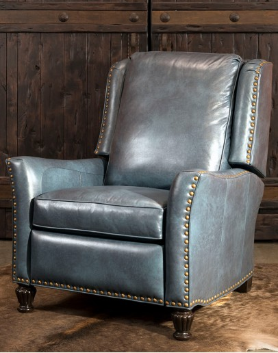 teal blue leather recliner