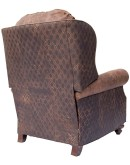distressed top grain brown leather recliner