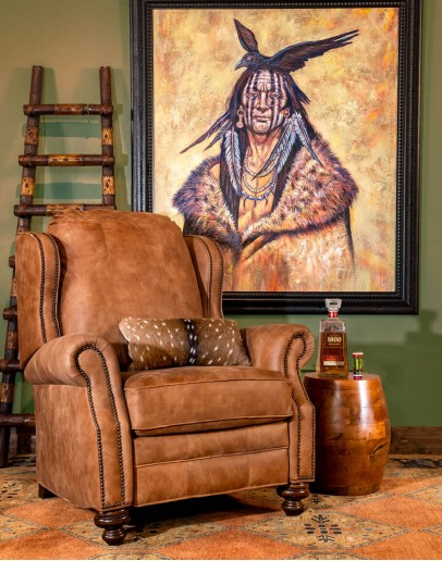 distressed tan leather wingback recliner