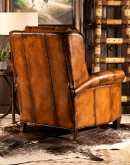 leather recliner with toe bug stitch design