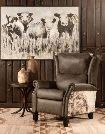 wingback recliner with grey leather and grey brindle cowhide accents