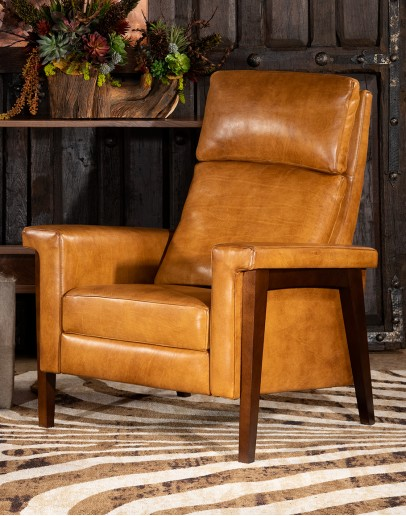 upscale ranch style tan leather recliner,tan recliner with saddle leather,modern coco recliner