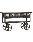 industrial steel trolley console table