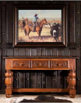 Texas Carved Wood Console Table