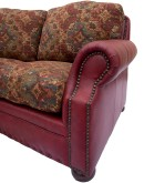 curved sofa with leather and fabric